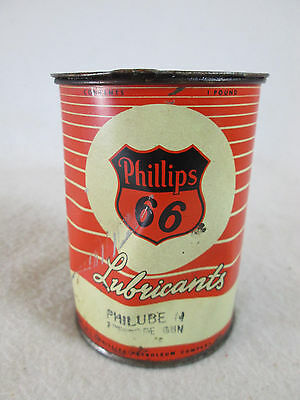 Vintage Phillips 66 Philube empty 1 lb metal grease lubricant oil can