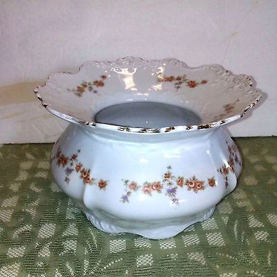 Antique  German Porcelain Ladies Spittoon With Flowers
