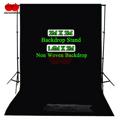 Black Non Woven Photo Studio Back Drop Background Photography 2x2M Stand Set Kit