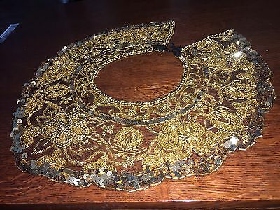 Gold Lace Collar, Beaded And Sequined, Beautiful!