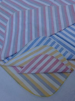 5 Vintage Striped Fabric Panels Pads Ironing Board Quilts Craft Needlework Cloth