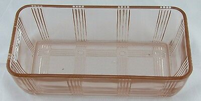 Crisscross Refrigerator Dish, Bottom Only, Hazel Atlas, Pink Depression Glass