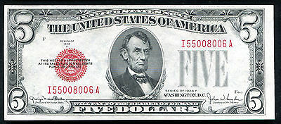 Fr. 1531 1928-F $5 Red Seal Legal Tender United States Note Uncirculated