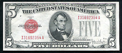 Fr. 1531 1928-F $5 Red Seal Legal Tender United States Note About Uncirculated