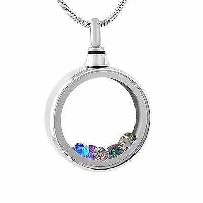 Stainless Steel Jeweled Living Locket Memory Pendant Round FREE SHIPPING