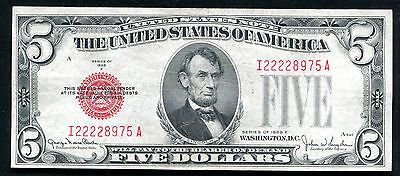 Fr. 1531 1928-F $5 Red Seal Legal Tender United States Note About Unc (D)