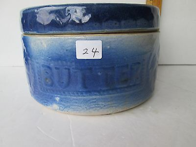 Antique Pottery Butter Crock with Original Lid
