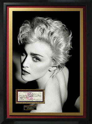 Madonna Signed Check Collage Display.