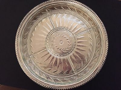 Vintage W Rogers Silver-Plated Lazy Susan Tray/with Glass Insert
