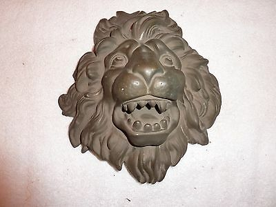 "Antique Red Brass Large Lion Head Door Plate 8 1/2"" H  X  8"" W"