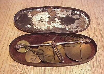 19th CENTURY CASED MEDICAL PRESCRIPTION or GOLD SCALES