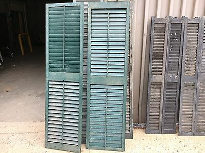 """GREAT pair victorian louver house window shutters old green paint 69.5"""" x 18.75"""""""