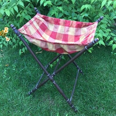 Antique FRENCH VICTORIAN Foldable SEWING STAND Vichy Fabric Turned Wooden Feet