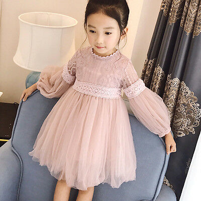 Baby Toddler Girl Lace Princess Pageant Formal Wedding Party Bubble Tulle Dress