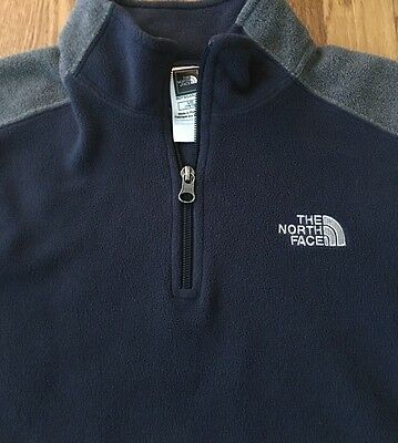 Boy's Navy Blue Gray The North Face Pullover Size Large 14 -16