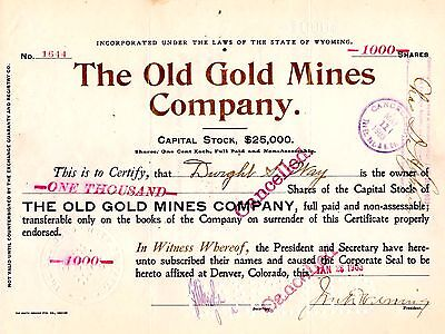 Antique Stock Certificate: 1000 Shares THE OLD GOLD MINES CO, Wyoming, 1903