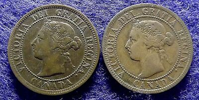 Canada 1 Cent 1884 & 1901 - 2 Large Queen Victoria Cent Coins, KM# 7 (#1110)