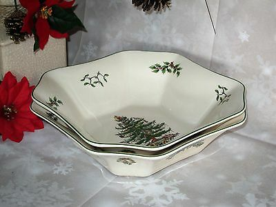 "Spode Christmas Tree Large Square Salad Vegetable Serving Bowl 9.5"" Set Of 2 New"