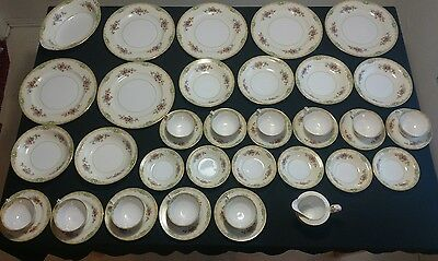 VINTAGE OLD 42 PIECE DISH SET 1930's-40's MIKADO JAPAN GREEN TRADITIONAL PATTERN