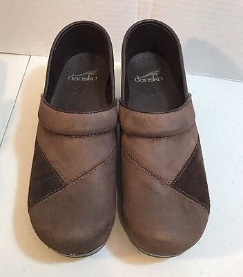 Dansko Women's Size 37 7 7.5 Brown Leather And Suede Clogs Slip On Shoes