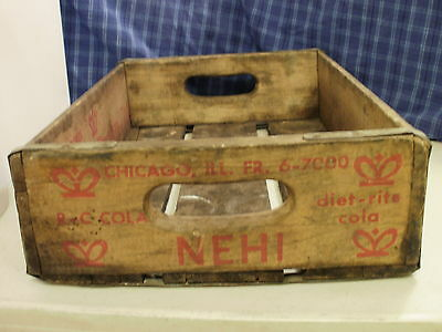 1977 Chicago Ill Wood Crate Royal Crown Nehi Diet Rite 3 Different Advertisement