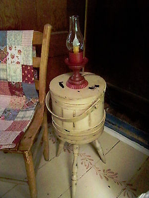 Primitive Painted Sugar bucket Firkin on legs side table swing handle wood bands