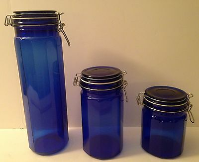 Set of 3 Cobalt Blue Glass Panel Canisters with Wire Bale Airtight Lids