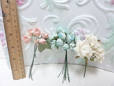 Vintage Millinery flowers hat decor C23   sprigs of pink and white and blue