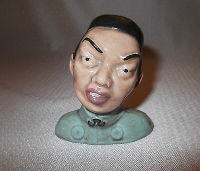 """40's Vintage McCarty Bros. Pottery Asian/Chinese Man Bust Figure-3 1/4"""""""