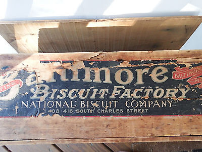 Baltimore Biscuit Factory National Biscuit Vintage Wood Advertising Box Crate