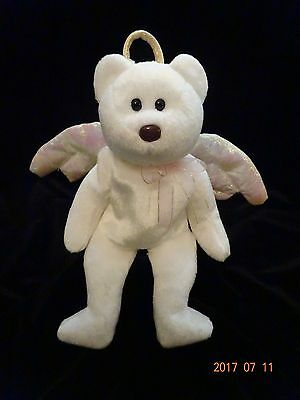 TY beanie baby Halo II. white bear. gold wings