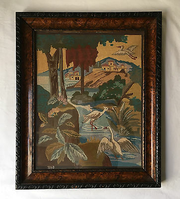"1940 Needlepoint Framed Art ""coast Of California"" Original Antique Frame"