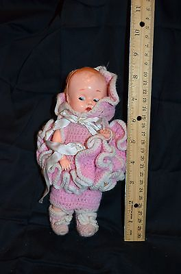 Antique Vintage 8 in Celluloid Doll In Handmade Outfit