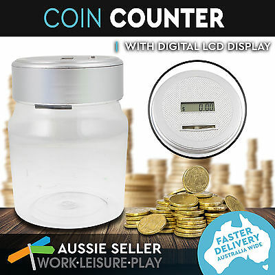 2x Digital Coin Counter Money Counting Jar Saving LCD Box Electronic Piggy Bank