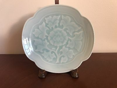 Chinese Antique Hand Painted Floral Celadon Porcelain Plate