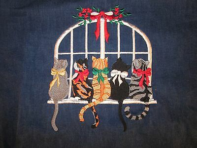 Orvis Embroidered Christmas Cat Denim Shirt S Small ~ NEW with TAG