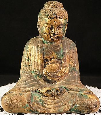 Neat Old Cast Iron Sitting Buddha Statue Gliding & Green Antique from Estate