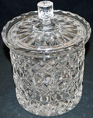 Heavy Pressed Crystal Glass Biscuit / Cookie / Candy Jar Nice Pattern and Shiny