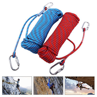 10-30M Static Rescue Rock Climbing Rappelling Tree Arborist Cord Ropes+Carabiner