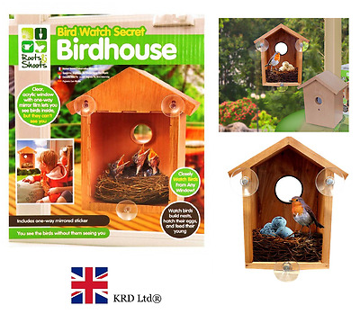 BIRD WATCH WOODEN SECRET BIRDHOUSE Garden Birds House Nest Nesting Feeder Gift