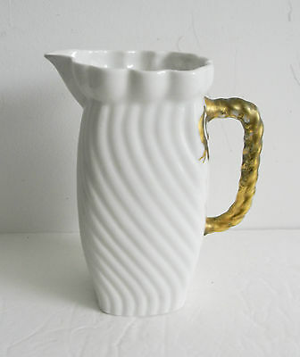 Limoges ewer or pitcher in white with gold handle -  A Lanternier ca 1900