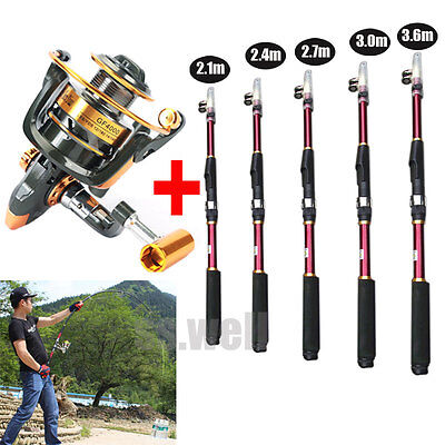Professional Carbon Fiber Telescope Fishing Rod Travel Sea Spinning Pole & Reel