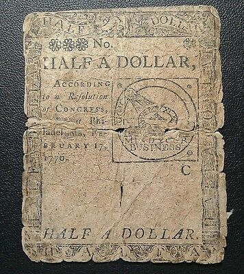 1776 FUGIO Half Dollar Note 50 Cents - OLD COLONIAL PAPER MONEY -