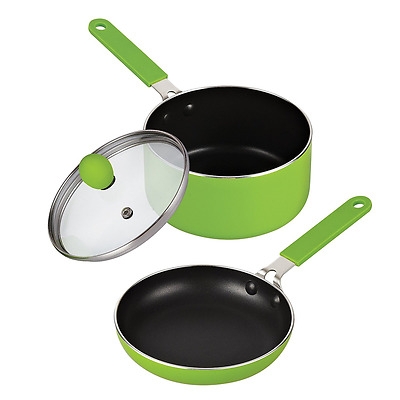 Cook N Home 5.5-Inch Nonstick Mini Size Fry and Sauce Pan with Lid Set, Green