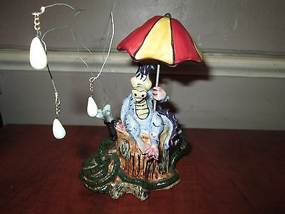 VTG DRAGON under Umbrella Blue Sky ClayWorks Whimsical Tea Lite Candle Holder