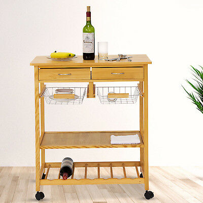 Kinbor Kitchen Cart On Wheels Wooden Trolley Work Island Storage With  Drawers