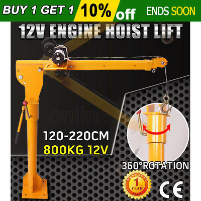 800kg 12V Electric Hoist 360 Degree Winch Crane Engine Car Truck Lift High AU