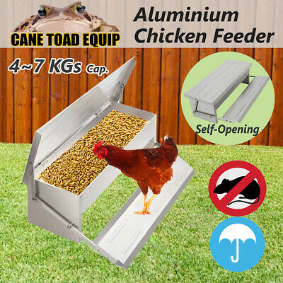 Auto Chicken Feeder 4~7KG Aluminium Treadle Self Opening Chook Poultry