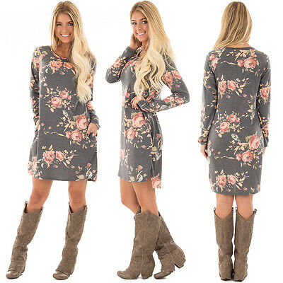 Party Evening Cocktail Dress Fashion Women Long Sleeve Floral Casual Loose Dress
