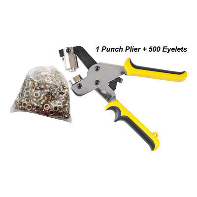 Manual Grommet Tool Eyelet Punch Plier for Eyelet #4  (10.5mm) + 500 Eyelets